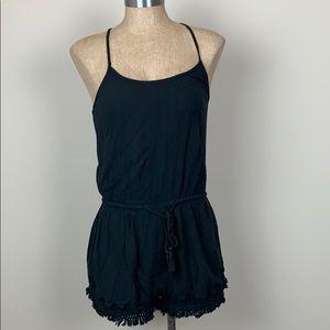 4/$25 Black Romper Crochet Hem Drawstring Waist